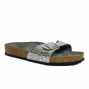 Birkenstock Madrid Silver Birko Flor Slide Sandals
